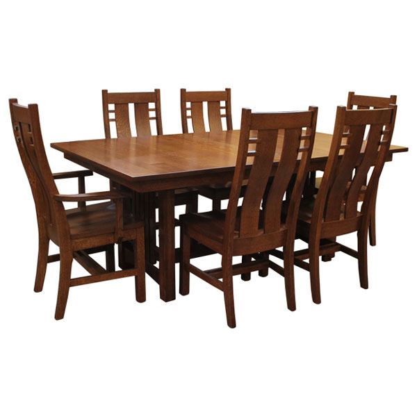 Amish Mission Bungalow Dining Set 6 W/ 4 Leaves