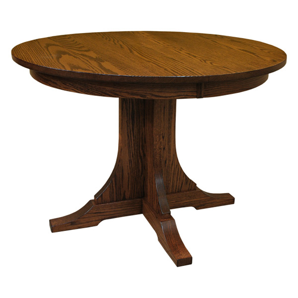 42 mission round table w 3 leaves - Round Wood Dining Table With Leaf