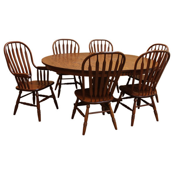 "Round Dining Set With Leaf: 60"" Amish Mission Round Dining Set-6 W/ 1-Leaf"