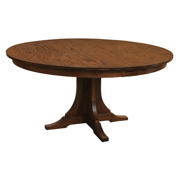 amish mission 60 inch round dining table with leaf drcvspm60r120. Black Bedroom Furniture Sets. Home Design Ideas