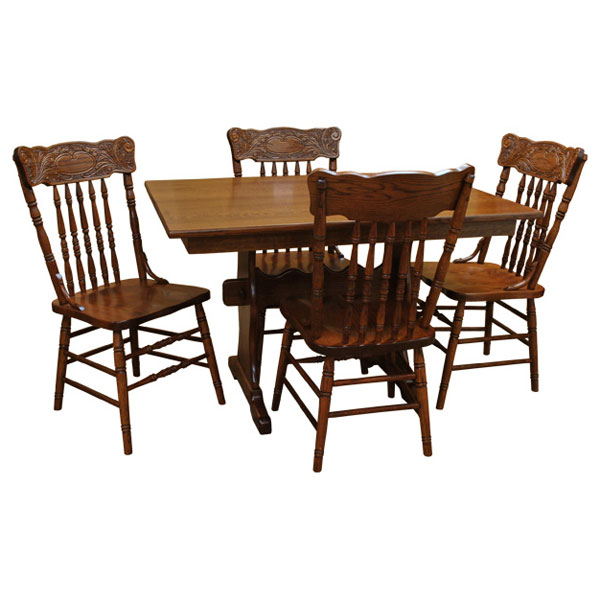 """36 Dining Table Set: 48"""" X 36"""" Amish Trestle Dining Table Set-4"""