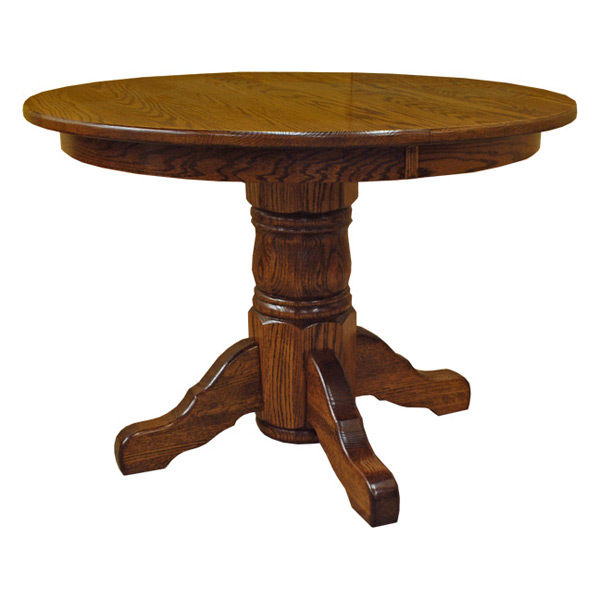 Amish 42 round pedestal dining table w leaf drcvtsp42r120 for Round pedestal table with leaf