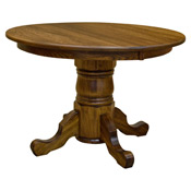 Amish 42 round pedestal dining table w leaf drcvtsp42r120 for 44 inch round dining table with leaf