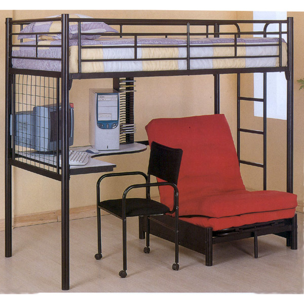 Black Bunk Bed With Desk And Futon