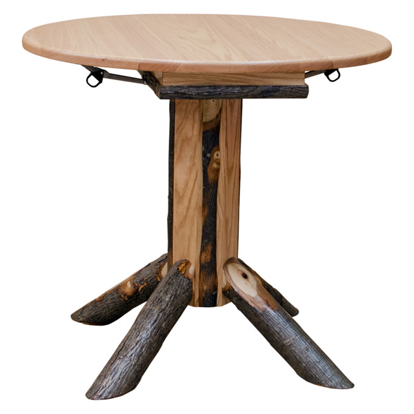 Hickory Small Round Dining Table Drop Leaf