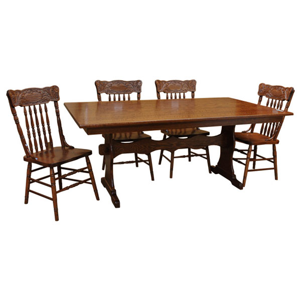 42 X 72 Amish Trestle Dining Table Set 6
