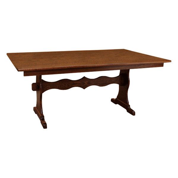 "Trestle Table Amish Dining Room: 42"" X 72"" Amish Trestle Dining Table Set-6"