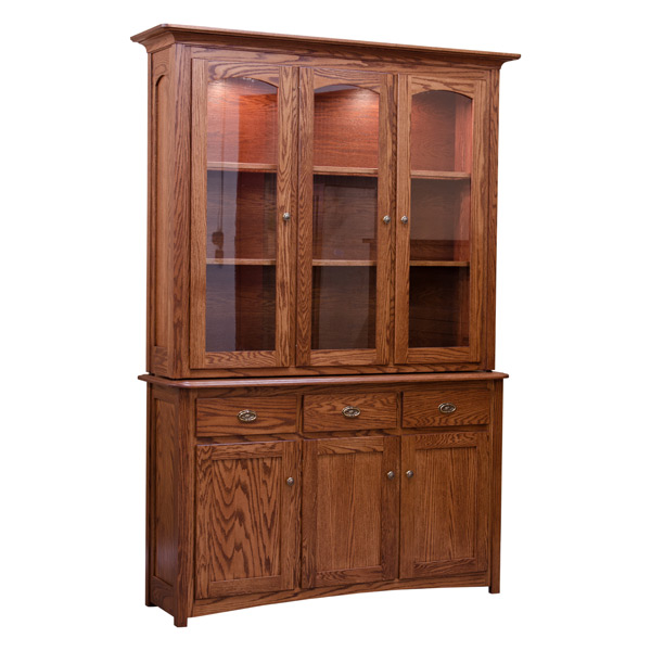 Traditional China Cabinet Red Oak Chinas Buffets Barn Furniture Craftsman Made In Usa