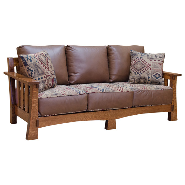 Amish Mission Sofa -Leather/Fabric | Sofas & Loveseats | Barn ...