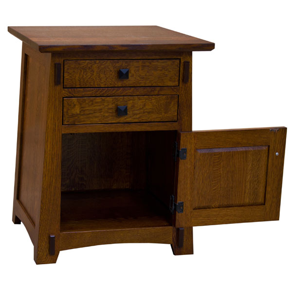 22 Amish Mission Two Drawerone Door End Table
