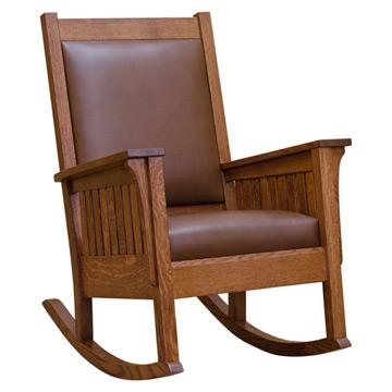 Mission Slat Rocker W Leather Barn Furniture