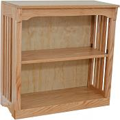 "30"" x 30"" Solid Oak Mission Spindle Bookcases light"