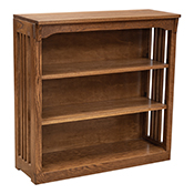 """36"""" x 36"""" Solid Oak Mission Spindle Bookcases"""