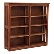 "48"" x 48"" Solid Oak Mission Spindle Bookcases"