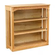 """36"""" x 36"""" Solid Oak Mission Spindle Bookcases Light"""