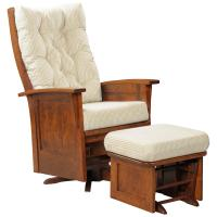 Deluxe Swivel Glider with Wood Panel
