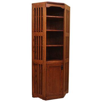"22"" x 72"" Corner Mission Bookcase w/ Doors"
