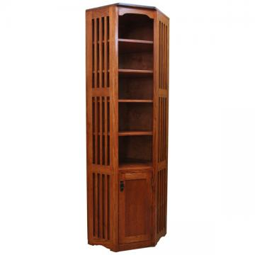 """22"""" x 84"""" Mission Spindle Corner Bookcase w/ Doors"""
