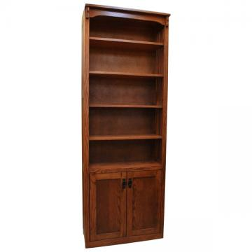 """30"""" x 84"""" Mission Spindle Bookcase w/ Bottom Doors"""