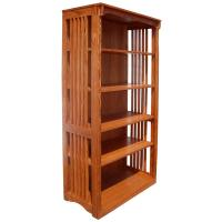 "36"" x 72"" x 18"" Solid Oak Mission Spindle Bookcase"