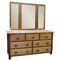 Hickory 7-Drawer Dresser w/ Mirror