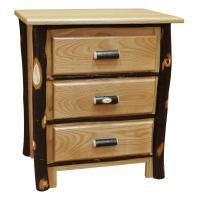 Hickory Three-Drawer Night Stand