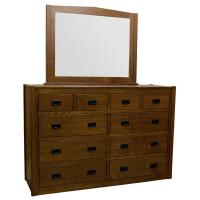 "66"" Amish Mission Pyramid 10-Drawer Dresser"