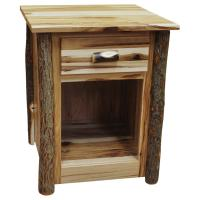 """22"""" Amish Hickory One Drawer Nightstand w/ Opening"""