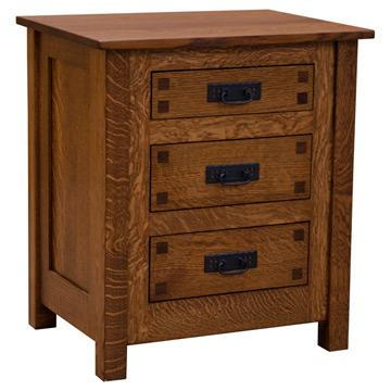 """25"""" Amish Mission 3-Drawer Nightstand w/ Inlays"""