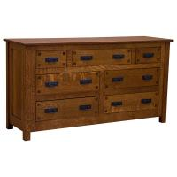 "62"" Amish Mission 7-Drawer Dresser w/ Inlays"