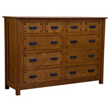 "64"" Amish Mission 10-Drawer Dresser w/ Inlays"