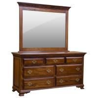 "65"" Amish Heritage Elm Dresser w/ Mirror"