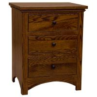 Three-Drawer Amish Traditional Buck Nightstand
