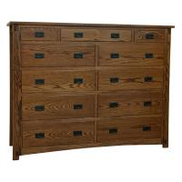 Amish Craftsman 11-Drawer Dresser, Plain Cut Oak