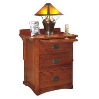 Arts & Crafts 3 Drawer Oak Night Stand