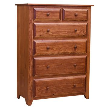 "36"" Folks Six Drawer Pine Chest"