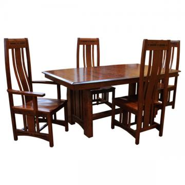 "42"" x 72"" Amish Valeboat Dining Set-4 w/ 4-Leaves"