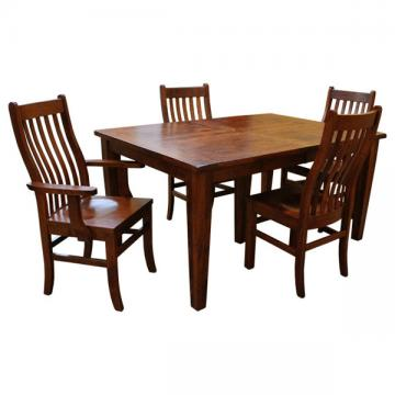 """42"""" x 60"""" Amish Frontier Dining Set-4 w/ 5-Leaves"""