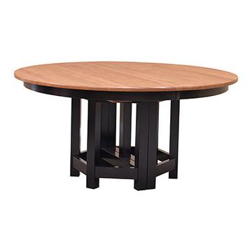 60 Round Amish Greene Greene Table W 6 Leaves Dining Tables