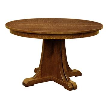 "Mission 48"" Round Pedestal Dining Table w/ Leaves"