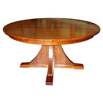 """Mission 60"""" Round Dining Table w/ 6 Leaves"""