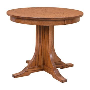 Mission Round Table.Mission Round Dining Table With 2 Leaves