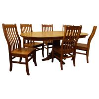 """42"""" Mission Round Table 5-pc set w/ 3 Leaves"""