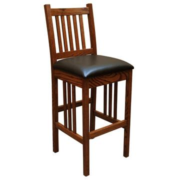 "30"" Amish Mission Barstool w/ Back"