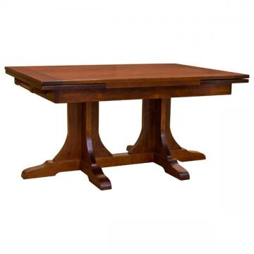 """42"""" x 60"""" Amish Mission Double Pedestal Dining Table"""