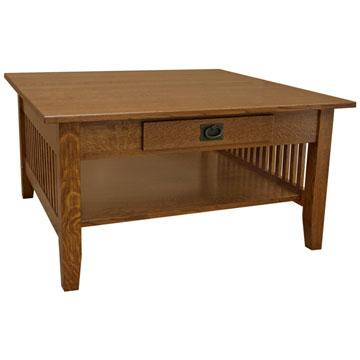 """36"""" Amish Mission Prairie One Drawer Coffee Table"""