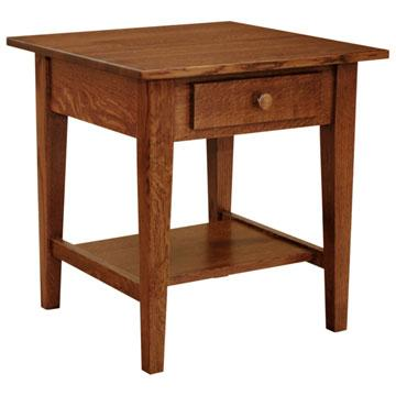 "22"" x 22"" Amish Mission Shaker End Table w/ Drawer"