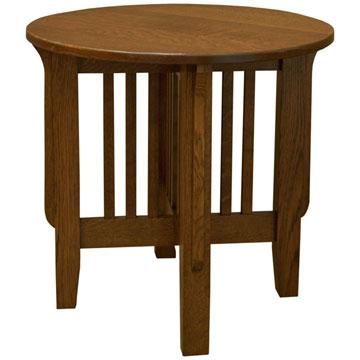 """24"""" x 23"""" Round Amish Mission Spindle End Table"""