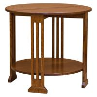"30"" Round Amish Mission Spindle End Table w/ Shelf"