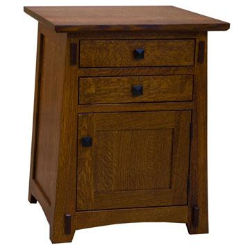 "22"" Amish Mission Two-Drawer/One Door End Table"